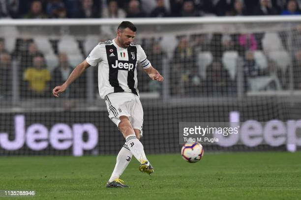 Andrea Barzagli of Juventus in action during the Serie A match between Juventus and Udinese at Allianz Stadium on March 08 2019 in Turin Italy