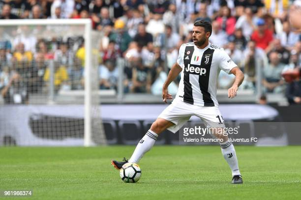 Andrea Barzagli of Juventus in action during the Serie A match between Juventus and Hellas Verona FC at Allianz Stadium on May 19 2018 in Turin Italy...