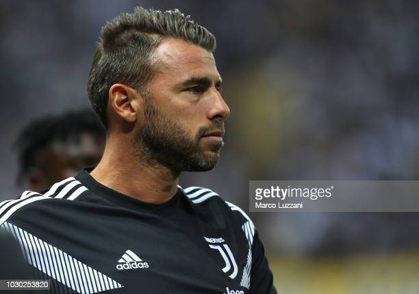 Andrea Barzagli of Juventus looks on before the serie A match between Parma Calcio and Juventus at Stadio Ennio Tardini on September 1 2018 in Parma...