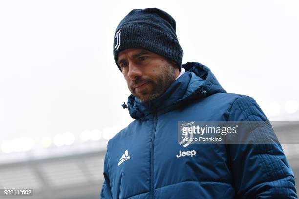 Andrea Barzagli of Juventus looks on during the Serie A match between Torino FC and Juventus at Stadio Olimpico di Torino on February 18 2018 in...