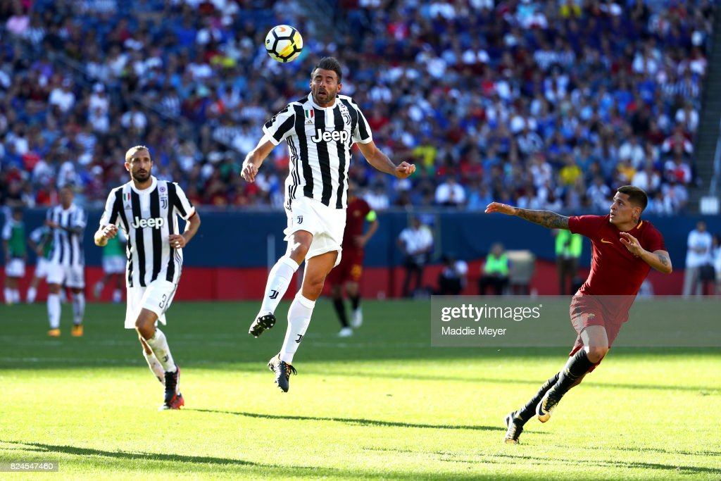 Andrea Barzagli #15 of Juventus wins a ball out of the air during the International Champions Cup 2017 match against Roma at Gillette Stadium on July 30, 2017 in Foxboro, Massachusetts.