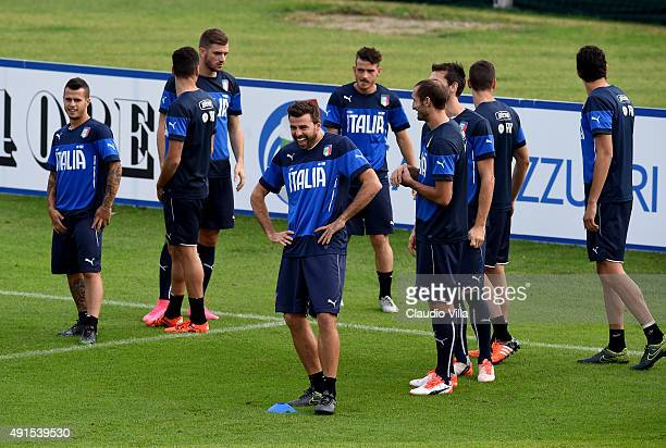Andrea Barzagli reacts during the Italy training session at Coverciano on October 6 2015 in Florence Italy