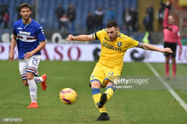 Andrea Beghetto of Frosinone Calcio in action during the Serie A match between UC Sampdoria and Frosinone Calcio at Stadio Luigi Ferraris on February...