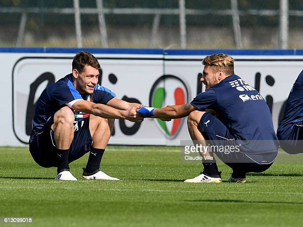 Andrea Belotti and Ciro Immobile attends an Italy training session at Juventus Center Vinovo on October 7 2016 in Vinovo Italy