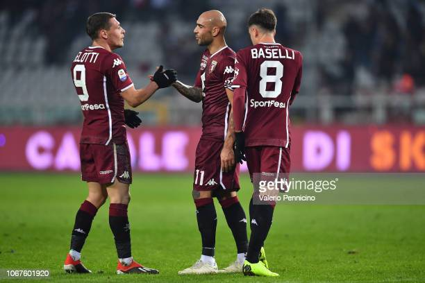 Andrea Belotti and Simone Zaza of Torino FC celebrate victory at the end of the Serie A match between Torino FC and Genoa CFC at Stadio Olimpico di...