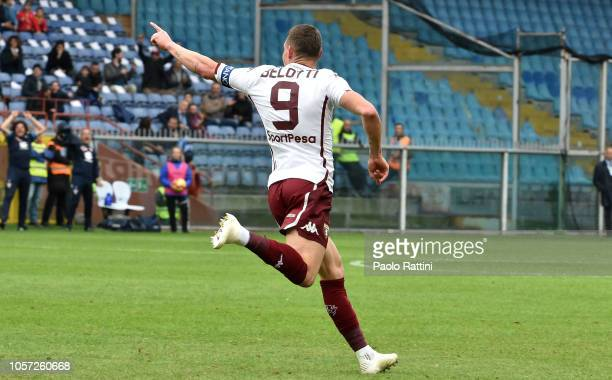 Andrea Belotti celebrates after scoring a goal 01 during the Serie A match between UC Sampdoria and Torino FC at Stadio Luigi Ferraris on November 4...