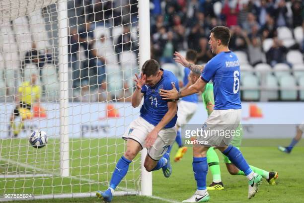 Andrea Belotti celebrates after scoring a goal subsequently canceled by the referee during the friendly football match between Italy and Holland at...