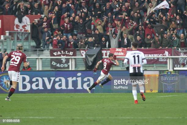 Andrea Belotti celebrates after scoring during the Serie A football match between Torino FC and Udinese Calcio at Olympic Grande Torino Stadium on 11...