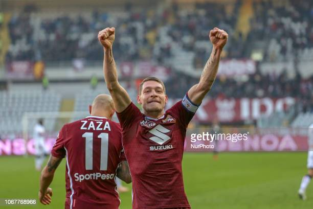Andrea Belotti celebrates after scoring the penalty of the victory during the Serie A football match between Torino FC and Genoa CFC at Olympic...
