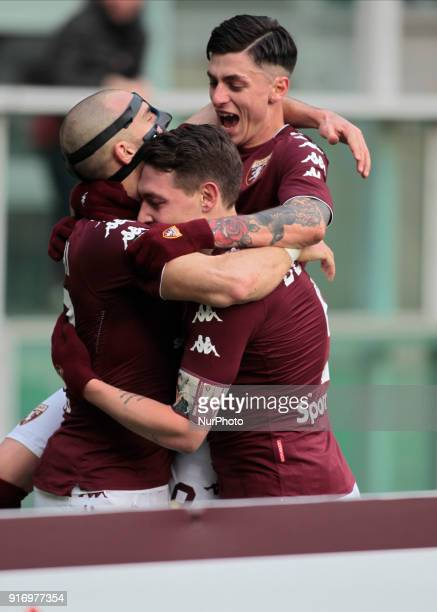 Andrea Belotti Daniele Baselli and Lorenzo De Silvestri celebrate a goal during the Serie A match between Torino FC and Udinese Calcio at Stadio...