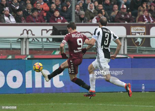 Andrea Belotti during the Serie A match between Torino FC and Juventus at Stadio Olimpico di Torino on February 18 2018 in Turin Italy