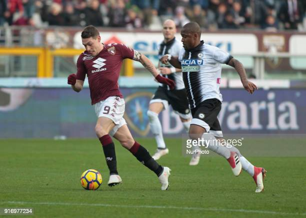 Andrea Belotti during the Serie A match between Torino FC and Udinese Calcio at Stadio Olimpico di Torino on February 11 2018 in Turin Italy