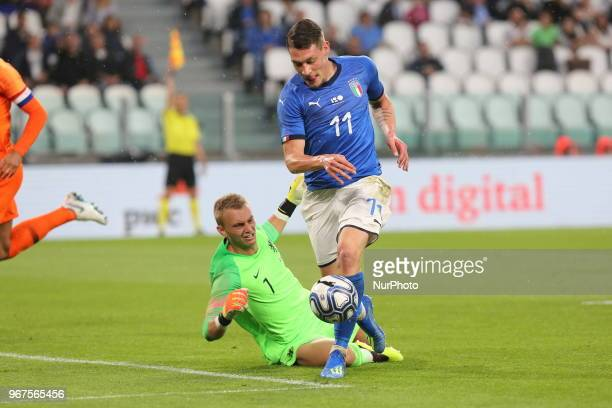 Andrea Belotti in action during the friendly football match between Italy and Holland at Allianz Stadium on June 04 2018 in Turin Italy Final result...