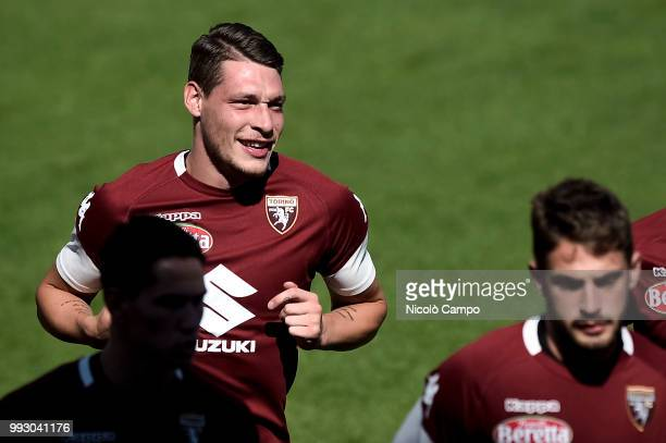 Andrea Belotti in action during Torino FC first training of the season 20182019