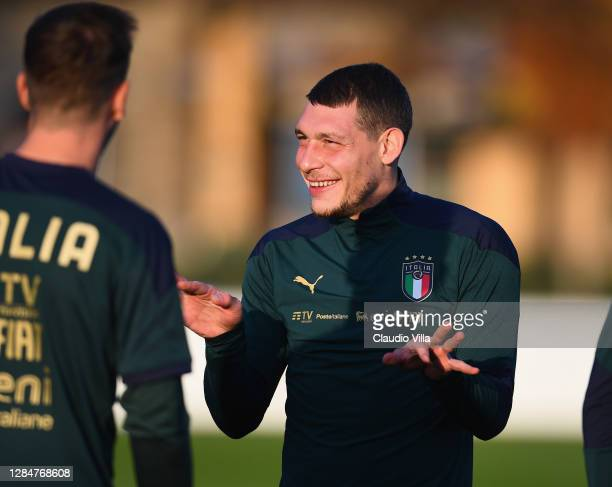 Andrea Belotti looks on during an Italy Training Session at Centro Tecnico Federale di Coverciano on November 09, 2020 in Florence, Italy.