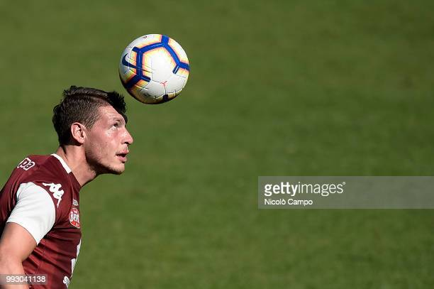 Andrea Belotti makes a header during Torino FC first training of the season 20182019