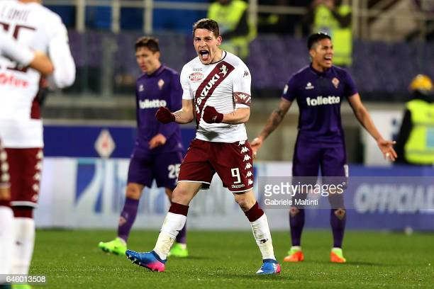 Andrea Belotti of FC Torino celebrates after scoring a goal during the Serie A match between ACF Fiorentina and FC Torino at Stadio Artemio Franchi...