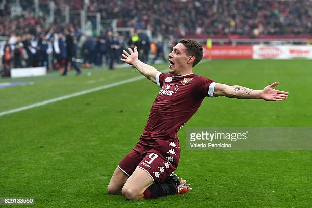 Andrea Belotti of FC Torino celebrates after scoring the opening goal during the Serie A match between FC Torino and Juventus FC at Stadio Olimpico...