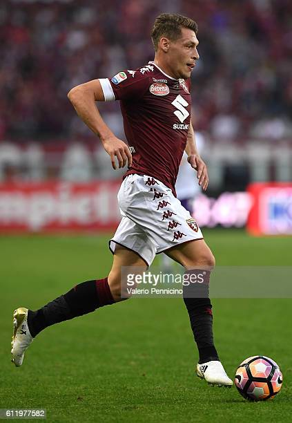 Andrea Belotti of FC Torino in action during the Serie A match between FC Torino and ACF Fiorentina at Stadio Olimpico di Torino on October 2 2016 in...