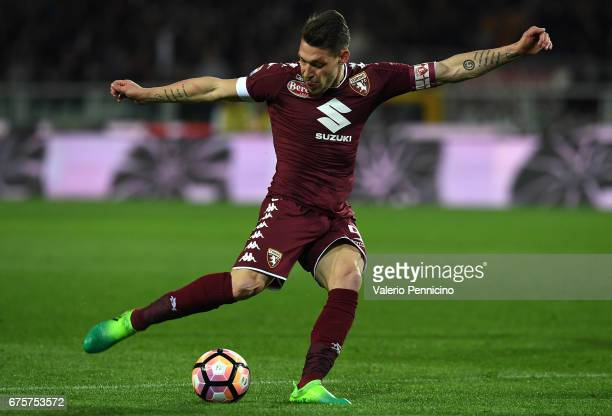 Andrea Belotti of FC Torino in action during the Serie A match between FC Torino and UC Sampdoria at Stadio Olimpico di Torino on April 29 2017 in...