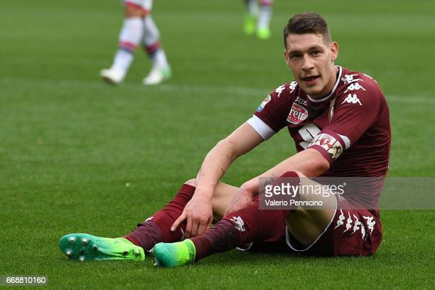 Andrea Belotti of FC Torino looks on during the Serie A match between FC Torino and FC Crotone at Stadio Olimpico di Torino on April 15 2017 in Turin...