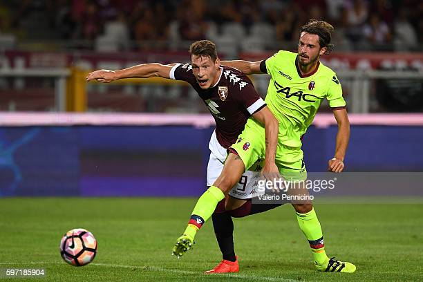 Andrea Belotti of FC Torino scores his second goal during the Serie A match between FC Torino and Bologna FC at Stadio Olimpico di Torino on August...