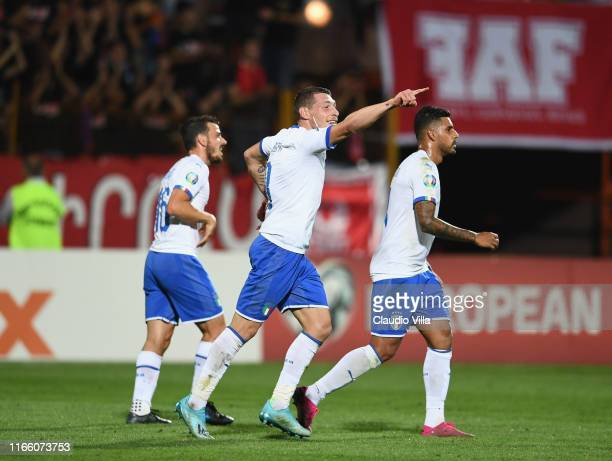 Andrea Belotti of Italy celebrates after scoring the goal during the UEFA Euro 2020 qualifier between Armenia and Italy at Republican Stadium after...