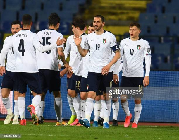 Andrea Belotti of Italy celebrates after scoring the opening goal during the FIFA World Cup 2022 Qatar qualifying match between Bulgaria and Italy on...