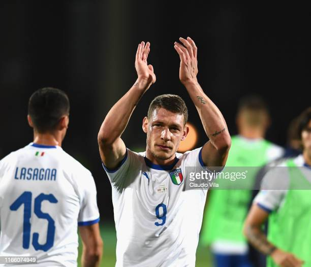 Andrea Belotti of Italy celebrates the victory and applauds supporters at the end of the UEFA Euro 2020 qualifier between Armenia and Italy at...