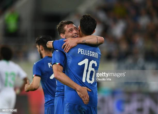 Andrea Belotti of Italy celebrates with Lorenzo Pellegrini after scoring the second goal during the International Friendly match between Saudi Arabia...