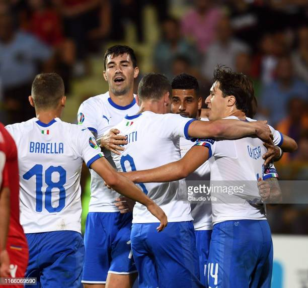 Andrea Belotti of Italy celebrates with team-mates after scoring a goal during the UEFA Euro 2020 qualifier between Armenia and Italy at Republican...