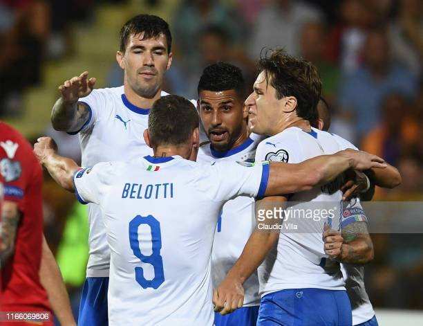 Andrea Belotti of Italy celebrates with teammates after scoring a goal during the UEFA Euro 2020 qualifier between Armenia and Italy at Republican...
