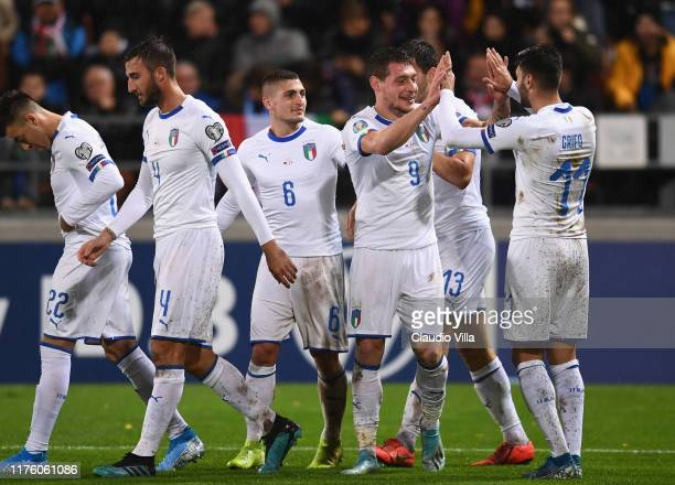 Andrea Belotti of Italy celebrates with team-mates after scoring the second goal during the UEFA Euro 2020 qualifier between Liechtenstein and Italy...