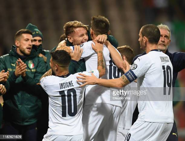 Andrea Belotti of Italy celebrates with teammates after scoring the third goal during the UEFA Euro 2020 Qualifier between Bosnia and Herzegovina and...