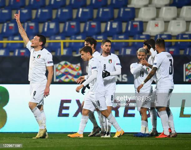 Andrea Belotti of Italy celebrates with team-mates after scoring the opening goal during the UEFA Nations League group stage match between...