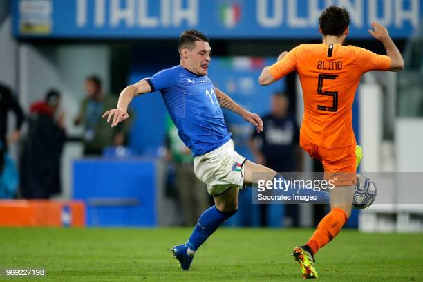 Andrea Belotti of Italy Daley Blind of Holland during the International Friendly match between Italy v Holland at the Allianz Stadium on June 4 2018...