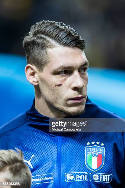 Andrea Belotti of Italy during the FIFA 2018 World Cup Qualifier PlayOff First Leg between Sweden and Italy at Friends arena on November 10 2017 in...