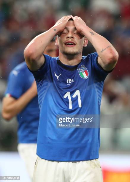 Andrea Belotti of Italy gestures during the International Friendly match between Italy and Netherlands at Allianz Stadium on June 4 2018 in Turin...