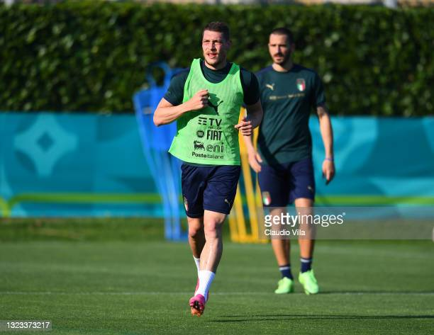 Andrea Belotti of Italy in action during an Italy training session at Centro Tecnico Federale di Coverciano on June 13, 2021 in Florence, Italy.