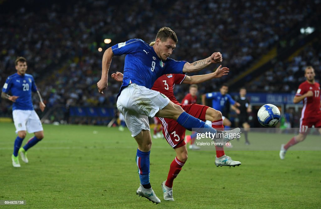Andrea Belotti of Italy in action during the FIFA 2018 World Cup Qualifier between Italy and Liechtenstein at Stadio Friuli on June 11, 2017 in Udine, Italy.