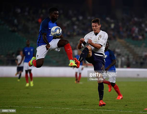 Andrea Belotti of Italy in action during the international friendly match between Italy and France at Stadio San Nicola on September 1 2016 in Bari...