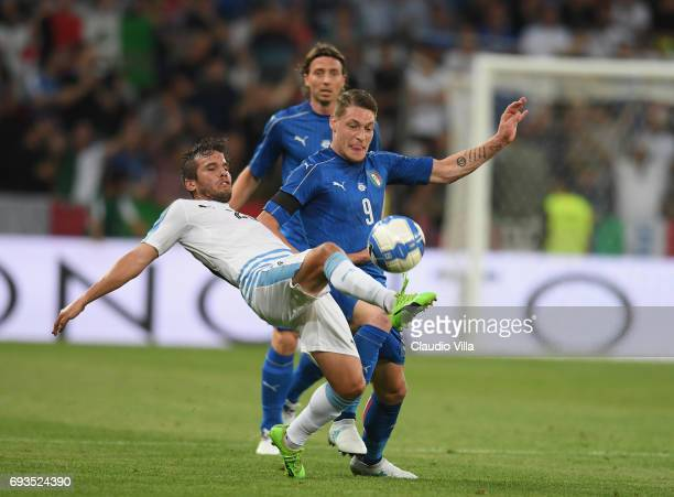 Andrea Belotti of Italy in action during the International Friendly match between Italy v Uruguay on June 7 2017 in Nice France