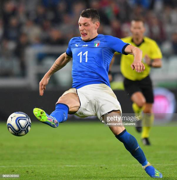 Andrea Belotti of Italy in action during the International Friendly match between Italy and Netherlands at Allianz Stadium on June 4 2018 in Turin...