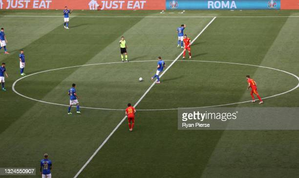 Andrea Belotti of Italy kicks off during the UEFA Euro 2020 Championship Group A match between Italy and Wales at Olimpico Stadium on June 20, 2021...