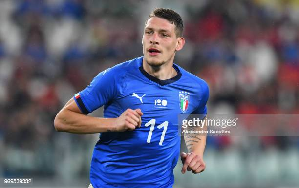 Andrea Belotti of Italy looks on during the International Friendly match between Italy and Netherlands at Allianz Stadium on June 4 2018 in Turin...