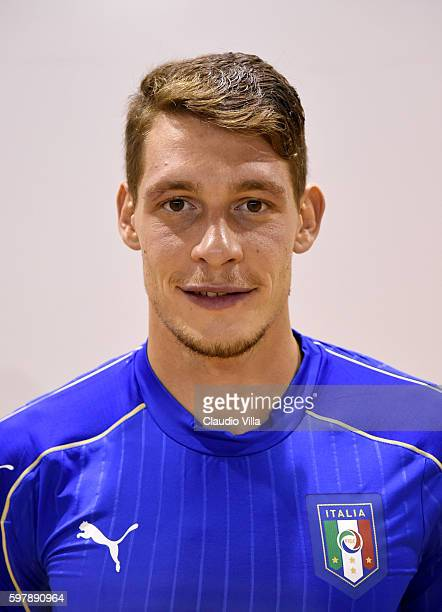 Andrea Belotti of Italy poses during the official portrait session prior to the training session at the club's training ground at Coverciano on...