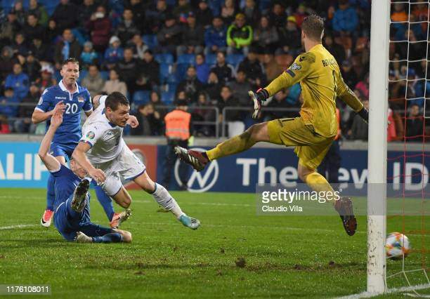 Andrea Belotti of Italy scores the fifth goal during the UEFA Euro 2020 qualifier between Liechtenstein and Italy on October 15, 2019 in Vaduz,...