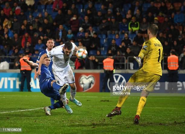 Andrea Belotti of Italy scores the fifth goal during the UEFA Euro 2020 qualifier between Liechtenstein and Italy on October 15, 2019 in Vaduz,...