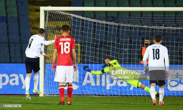 Andrea Belotti of Italy scores the opening goal during the FIFA World Cup 2022 Qatar qualifying match between Bulgaria and Italy on March 28, 2021 in...