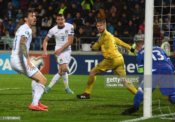 Andrea Belotti of Italy scores the thirth goal during the UEFA Euro 2020 qualifier between Liechtenstein and Italy on October 15, 2019 in Vaduz,...